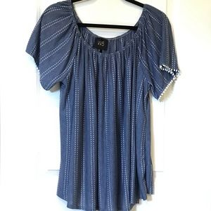 Chambray top with white stripes